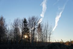 Natural phenomena, observed in the Moscow region. Late autumn, the sky at sunset Stock Photo
