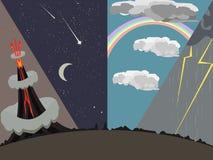 Natural phenomena vector cartoon Royalty Free Stock Photos