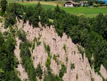 Natural phenomenon - the earth pyramids of Ritten, Renon South Tyrol, Italy. View towards Mittelberg. royalty free stock photos