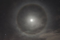 Natural phenomenon in the night sky. Moon halo Royalty Free Stock Photography