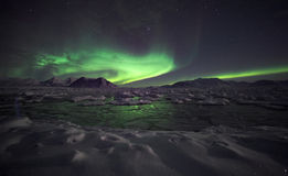 Natural phenomenon of Northern Lights. (Aurora Borealis) related to the earth's magnetic field, ionosphere and solar activity royalty free stock photo