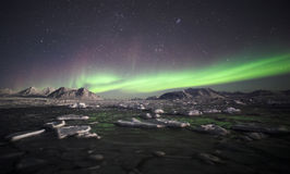 Natural phenomenon of Northern Lights. (Aurora Borealis) related to the earth's magnetic field, ionosphere and solar activity royalty free stock photography
