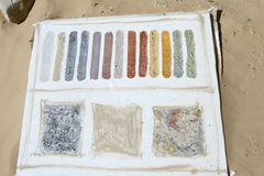 Natural Pigments Made From Desert Sand. Natural pigments created from multihued clay found in the desert painted on canvas Royalty Free Stock Photos