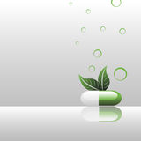 Natural pill. Abstract colorful background with natural pill colored in green and white near two leaves Stock Image