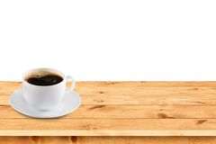 Natural pine boards with coffee cup Royalty Free Stock Photography