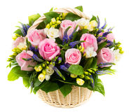 Natural pink roses in a basket Royalty Free Stock Image