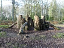 Natural play area constructed with sustainably felled oak tree trunks