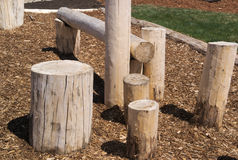 Natural playground climbing structure logs wooden. A natural playground climbing structure made of logs and stumps Royalty Free Stock Image