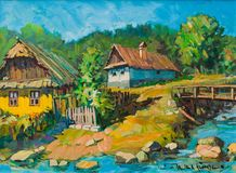 Natural and pleasant village life painting Royalty Free Stock Image