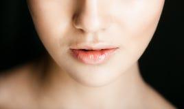 Natural plump full Lip. Royalty Free Stock Photos