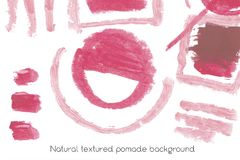 Natural pomade art design elements of lipstick. Natural pomade art design elements with curves, lines, abstract textured shapes for creating of banners and Stock Photography