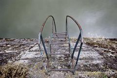 A natural pool ladder. A natural swimming pool ladder, a ladder metal detail, down to the water Stock Photo