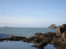 Natural pool in Saint Malo. With a fort in background, 2007 Stock Images