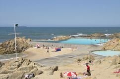 Natural pools in Matosinhos beach stock photo