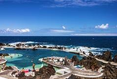 Natural pools in resort Portu Moniz, Madeira island, Portugal Royalty Free Stock Image