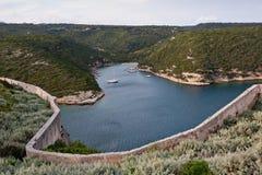 Natural port of Bonifacio, Corsica. Boats anchored in the natural inlets of Bonifacio in Corsica Stock Image