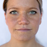 Natural portrait. With available light of a woman Stock Photos