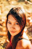 Natural portrait, Asian girl smiling. Native Asian beauty. Local Asian people.  royalty free stock photography