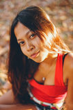 Natural portrait, Asian girl smiling. Native Asian beauty. Local Asian people.  stock photo