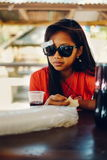 Natural portrait, Asian girl with sunglasses. Native Asian beauty. Local Asian people.  royalty free stock photos