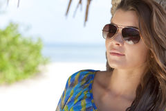 Natural Portrait of Beautiful Woman In Sunglasses Stock Image