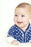 Natural Portrait of Positive Caucasian Newborn Girl Royalty Free Stock Photo