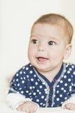 Natural Portrait of Positive Caucasian Newborn Girl Stock Image