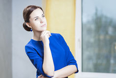 Natural Portrait of Sensual Caucasian Brunette Woman In Stylish Dress Royalty Free Stock Photos