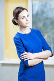 Natural Portrait of Sensual Caucasian Brunette Woman In Stylish Dress Royalty Free Stock Photography