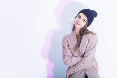 Natural Portrait of Sensual Caucasian Girl in Warm Hat and Trendy Jacket Royalty Free Stock Photo