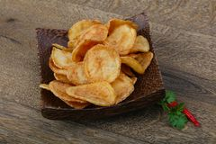 Natural potato chips stock images