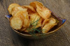Natural potato chips royalty free stock photography