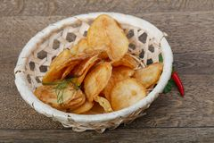 Natural potato chips royalty free stock photos