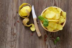 Natural potato chips stock photo