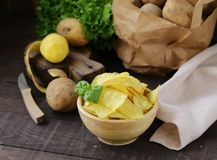 Natural potato chips royalty free stock image