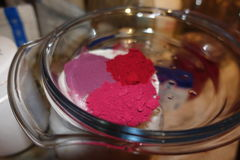 Natural powders in glass bowl Royalty Free Stock Photo