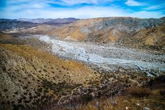 A flowing water in a stream of Whitewater Preserve Wildlands Conservancy. A natural preserve of natural resources at Whitewater Preserve, California Royalty Free Stock Photo