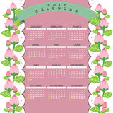 2017 Natural Printable Calendar Starts Sunday Celebrating Pink Flowers Climber Border. Royalty Free Stock Image