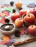 Natural produce, apples, autumn leaves Stock Photos