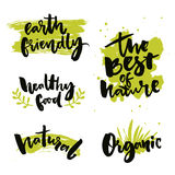 Natural product badges and labels. Stickers with calligraphy words. The best of nature, healthy food, earth friendly royalty free illustration