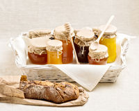 Natural product. Different types of honey and homemade bread. Stock Photography