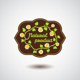 Natural product emblem with flower Stock Photography