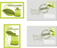 Natural product. Envelop and post stamp Stock Images
