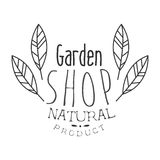 Natural Product Garden Shop Black And White Promo Sign Design Template With Calligraphic Text Royalty Free Stock Image