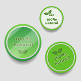 Natural product green circle sticker eps 10  illustration Stock Photo