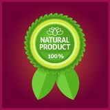 Natural product green label on violet Stock Photography