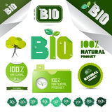 Natural Product Green Labels - Tags - Stickers Set Royalty Free Stock Image