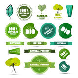Natural Product Green Labels - Tags - Stickers Set Stock Images