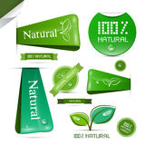 Natural Product Green Labels - Tags - Stickers Set Royalty Free Stock Images