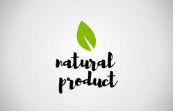 Natural product green leaf handwritten text white background vector illustration